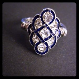 Blue & White Sapphire .925 Sterling Silver